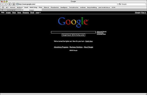 Google's black homepage - Blackout