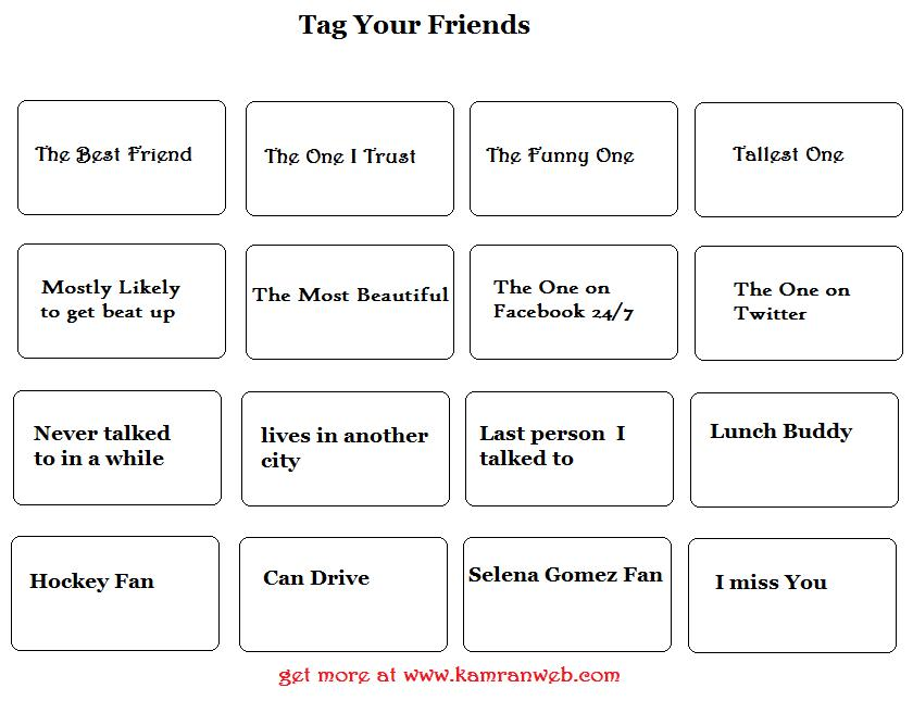 Friendship personalities Tag Pictures for Facebook